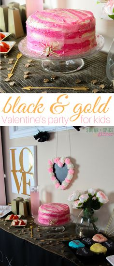 Black and gold Valentine's Party for Kids - complete with party planning printables, tips on how to make throwing casual parties stress-free so you can enjoy the preparation as much as the party This shop has been compensated by Collective Bias, Inc. and its advertiser. All opinions are mine alone. #WipeAwayHolidayMess ad