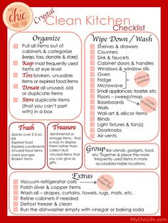 Crystal Clean Kitchen Checklist The Chic Site spring cleaning checklist Spring Cleaning Checklist, House Cleaning Tips, Diy Cleaning Products, Cleaning Solutions, Deep Cleaning, Cleaning Hacks, Kitchen Cleaning, Cleaning Lists, Clean Kitchen Checklist