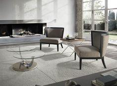 Sillones tapizados modernos, mesa de centro de cristal y mesa auxiliar SILLONES A826 MESA DE CENTRO LE543-ST y MESA AUXILIAR F1169AA