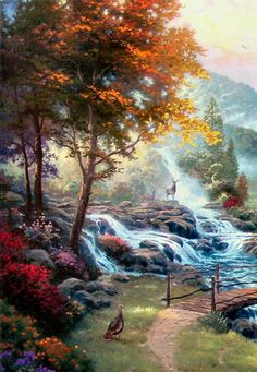 Thomas Kinkade paintings featuring the great outdoors are among his most popular paintings. Description from kraftmstr.com. I searched for this on bing.com/images