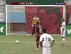 Soccer player tricks goalkeeper but fails epically because keepers are awesome.