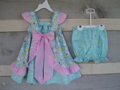 Girls 18 mths 2T handmade Easter dress and panty made of a light blue print trimmed with pink gingham on Etsy, $758.62