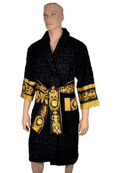 2014 LMTD ED Versace Home Mens Womens Lavish Black Bath Robe XXL | eBay
