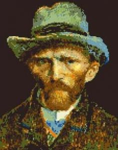 Cross stitch of the Dutch painter Van Gogh, based on his self-portrait from 1887.
