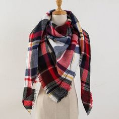 Scarf Cashmere Scarf Women Plaid Blanket Scarf New Designer Acrylic Basic Shawls Women's Scarves and Wraps