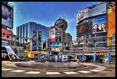"""Images of TO (#1 in a weekly series).  In bold HDR, Dundas Sq. was preparing for Luminato with a center stage. Feel free to add a note to what areas you think are interesting.  Now part of my """"Explored"""" set.  © All Rights Reserved - No Usage Allowed  Funny - Hilarious Signs & Billboards"""