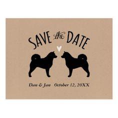 #savethedate #postcards - #Alaskan Malamute Silhouettes Wedding Save the Date Postcard