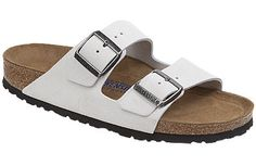 Birkenstock Arizona  Soft Footbed  White Sand Suede  $130     If you have sensitive feet, try this soft footbed version of the classic comfort sandal. The footbed is lined with a layer of medium-density foam under the suede and gives you padding along with great arch support. Resoleable for long-lasting comfort.