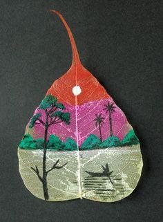 painting on peepal leaf