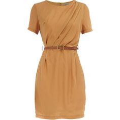 Mustard pleated belt dress found on Polyvore $29.00