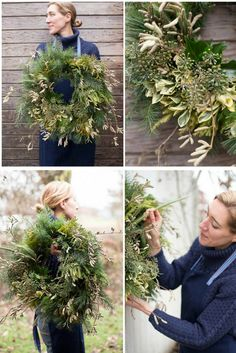 Learn how to make a beautiful DIY holiday wreath using natural materials found i. - Home Decoration Natural Christmas, Noel Christmas, Christmas Crafts, Make A Christmas Wreath, Christmas Ideas, Diy Cadeau Noel, Diy 2019, Corona Floral, Diy Wreath