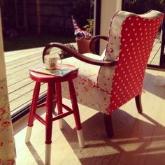 'What's your Cath Kidston favourite?' competition WINNER - Penny Jackson. We love your Spot Red and Faded Flowers reupholstered chair. Cath Kidston