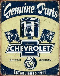 オールポスターズの「Chevrolet - Chevy Genuine Parts Pistons」ブリキ看板