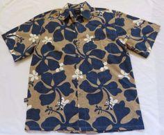 Te-Mana-Tahiti-Mens-Sz-L-Blue-Taupe-Hawaiian-Aloha-Shirt-Hibiscus-Cotton-New