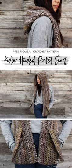 Looking for an easy winter project? Check out this free crochet pattern for the Kodiak Hooded Pocket Scarf. With a hood and pockets, you will stay extra cozy in this! #lionbrandyarns #hoodedscarf