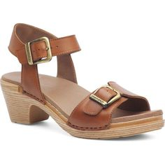 Dansko Women's Matty Camel Full Grain Leather Sandals ($135) ❤ liked on Polyvore featuring shoes, sandals, brown, brown shoes, round toe shoes, double-strap sandals, brown sandals and leather upper shoes