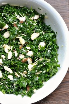 Simple Kale Salad with Lemon Vinaigrette - a healthy lunch or dinner for a busy night. Added sliced almonds and parmesan cheese pair perfectly with the tangy lemon dressing. Savory Salads, Appetizer Salads, Appetizers, Broccoli Salad With Raisins, Lemon Vinaigrette Dressing, Healthy Side Dishes, Healthy Foods, Healthy Salads, Healthy Recipes