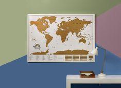"""Harta razuibila XL este sora mai mare a hartii originale """"Scratch Map"""". Folia aurie ii ofera un aer elegant, facand-o sa mearga cu orice paleta de culori. Poate fi inramata si agatata pe perete. Pe masura ce o vei razui, va aduce o pata de culoare in orice camera si te va motiva sa parcurgi lumea aceasta cat mai mult. Tot ce trebuie sa faci este sa razuiesti, la fiecare final de vacanta, destinatia pe care ai vizitat-o. Buddha, Diy, Home Decor, Madness, Decoration Home, Bricolage, Room Decor, Do It Yourself, Home Interior Design"""