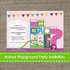 Our indoor playground party theme invitation really makes a statement. Your friends will love the unique detail of cuteness!  This listing includes an emailed 5x7 CUSTOM INVITATION DESIGN ONLY. No printed materials will be shipped.  Available in 2 file types: 1. 5x7 jpeg for printing on photo paper at photo lab 2. Printable PDF page with 2 invites on page, for printing at home or professional printer (on cardstock)  The coordinating accessories are sold separately in our shop…