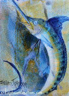 Blue Marlin : Acrylic painting on canvas-white marlin-sail fish-deep sea fish-fish art-art fish-beach art-contemporary art-modern artist-American Artist-www.erikajohnsoncreations.com