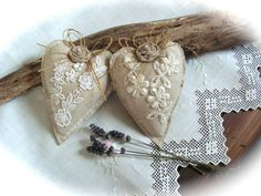 Fabric heart decor in romantic shabby chic style, simple way to say I love you. These beautiful and lovely decorated hearts ornament made with linen
