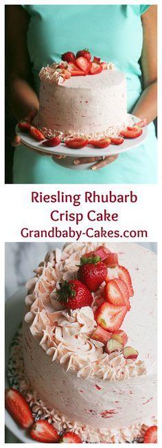 Riesling Rhubarb Crisp Cake with Strawberries | http://Grandbaby-Cakes.com