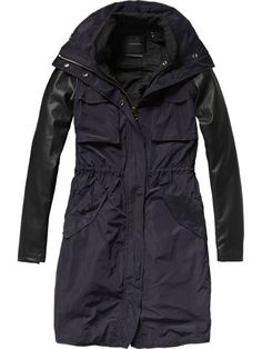 Technical nylon parka with leather sleeves - Jackets - Scotch & Soda Online Shop