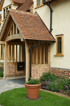 Border Oak Porch with herringbone brick infill. Brick Porch, Front Door Porch, Porch Doors, Side Porch, House Front, Porch Entrance, Front Doors, Cottage Porch, Cottage Exterior