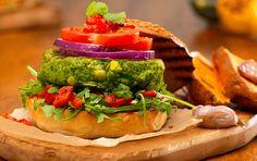 Vegan Burger with Garlic Sweet Potato Wedges – What's for Dinner