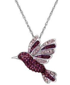Kaleidoscope Sterling Silver Necklace, Purple Swarovski Crystal Hummingbird Pendant (9/10 ct. t.w.) | macys.com