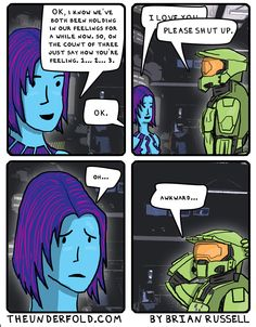 Once Halo was finished, Cortana and Master Chief finally get some alone time to discuss their feelings for each other. Red Hood Wallpaper, Video Game Logic, Video Games, Halo Funny, Halo Reach, Halo 5, Red Vs Blue, Lorde, Fun Games