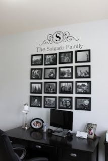 Great idea for family pictures Family Pictures On Wall, Family Wall, Family Photos, Family Room, Family Collage, Home Improvement Projects, Home Projects, Hanging Pictures, My Living Room