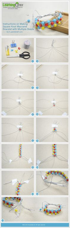 Instructions on Making Square Knot Macramé Bracelet with Multiple Beads