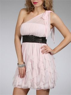 A-line One shoulder with Ruffles and Beadings Knee Length Homecoming Dress HD1102 www.homecomingstore.com $126.0000