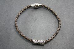 Silver leather bracelet- Brown(Men) from Camélia