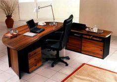 Günstige Büromöbel – die moderne Lösung für Ihr Büro - günstige büromöbel nussbaumholz schwarzleder