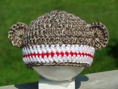 Sock Monkey Beanie #crochet #baby #beanie #hat $16.00