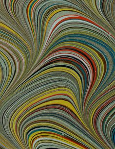 Modern 20th c. marbled paper, Serpentine pattern :: Decorated Papers