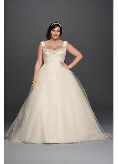 Plus Size Oleg Cassini Off the Shoulder Lace Wedding Dress