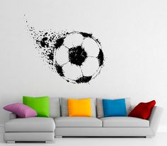 b2f1f25781b0 Soccer Ball Wall Decal Football Vinyl Stickers Sport Game Player Interior  Home Design Art Murals Wall Graphics Decor (8s01l)