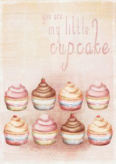 Vintage cupcake Illustration Art Print- home decor- kids decor- wall art illustration- sweet,cupcake-
