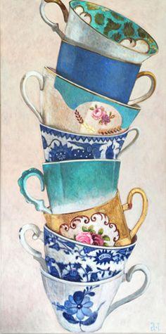 Andrea Letterie, 8 Gestapelde kopjes, Gemengde techniek op paneel, 140x70 cm, €.1800,-