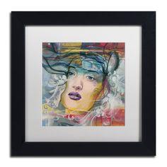 Andrea 'Mirada Lejana' White Matte, Wood Framed Wall Art