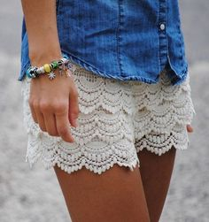 b630809020 Ivory Lace Scallop Shorts Lacey Shorts {Ivory} Ivory crochet lace scalloped  shorts with elastic waistband. Fully lined. Size S/M Simply Me Boutique  Shorts