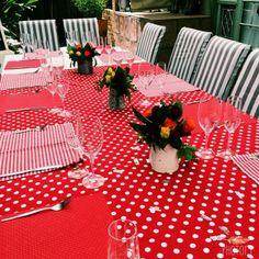 Red & turquiose decor