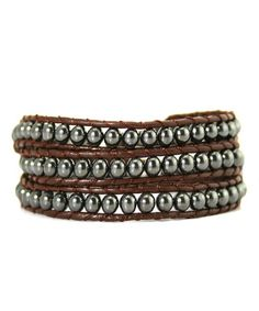 Loving this Hematite Beaded Leather Wrap Bracelet on #zulily! #zulilyfinds