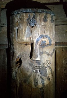 Detail from the top of one of the interior staves - Hegge stave church is an early 13th-century stave church located in Øystre Slidre municipality in Valdres, Norway.