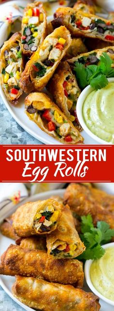 Southwestern Egg Rolls Recipe - LOADED WITH A COLORFUL VARIETY OF VEGETABLES, CHICKEN, BEANS AND PLENTY OF MELTY CHEESE, ALL WRAPPED UP IN A CRISPY ROLL. THE ULTIMATE PARTY APPETIZER!