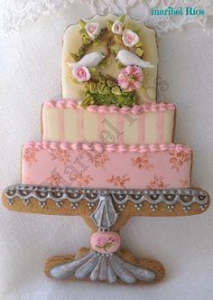 cookie de jengibre y royal icing tarta nupcial, detalles para boda