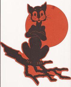 VINTAGE 1930's Buzza HALLOWEEN Die-Cut Black Cat on Tree Branch/Moon Decoration